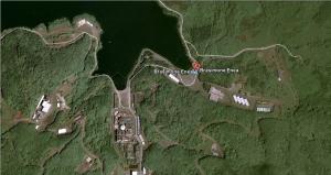 Immagine dall'alto della centrale nucleare del Lago Brasimone