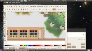 schermata del portatile HP con Ubuntu 10.04 ed Inkscape aperto