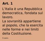 l'articolo 1 della nostra Costituzione