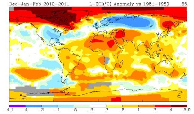 anomalia di temperatura, inverno 2010 2011