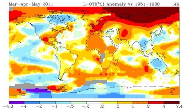 anomalia delle temperature, primavera 2011
