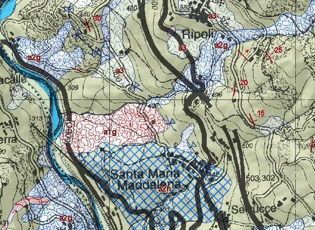 estratto di carta geologica per l'area di Ripoli e Santa Maria Maddalena