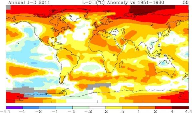 mappa di anomalie di temperatura anno 2011, riscaldamento globale