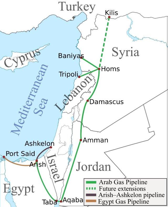 percorso del gasdotto egitto israele siria libano giordania - arab gas pipeline