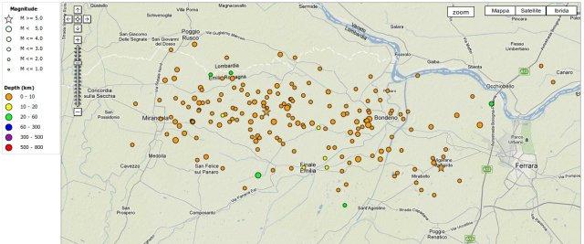 epicentri e mangitudo dei terremoti, eventi del 20 - 21 maggio 2012