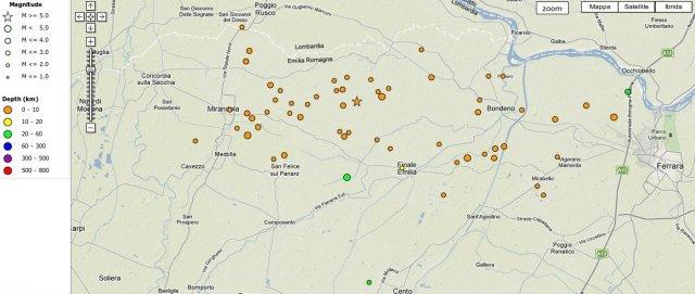 epicentro terremoto ferrara, epicentri sciame sismico modena 20 maggio 2012
