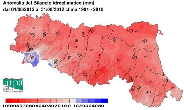 deficit idrico agosto 2012 Emilia Romagna