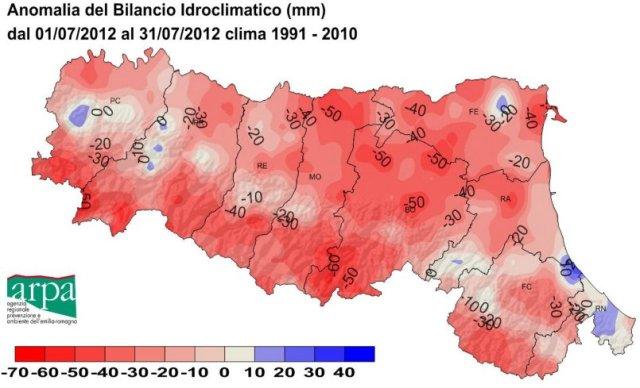 deficit idrico luglio 2012 Emilia Romagna