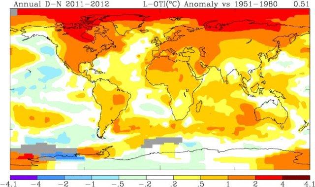 anomalia termica dicembre 2011 - novembre 2012