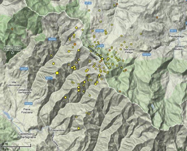 Sciame sismico tra Emilia e Toscana, 25 gennaio 2013