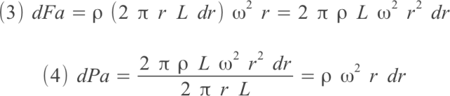 forza e pressione agenti su centrifuga, guscio cilindrico di liquido