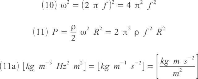pressione su liquido in rotazione, relazione con densità, frequenza, raggio