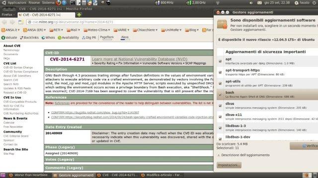 il baco shellshock e la cura offerta per linux / bash, in tempo reale