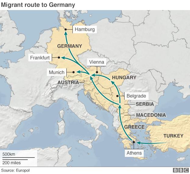 percorso immigrati e profughi, Grecia, Balcani, Austria, Germania, Ungheria
