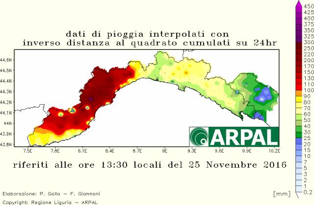 mappa precipitazione cumulata 24 ore liguria 24 25 novembre 2016