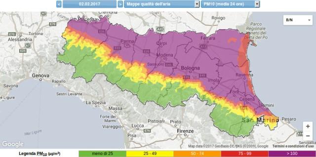 pm 10 2.5 concentrazione polveri fini sottili 02-02-2017