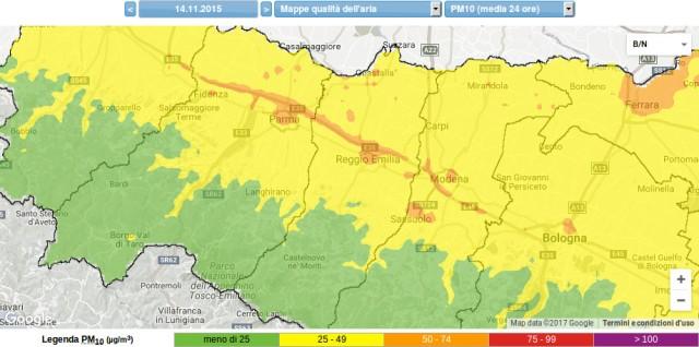 pm 10 2.5 concentrazione polveri fini sottili 14 11 2015