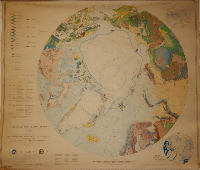 antica carta geologia e geografica della regione artica, 1960, geological map of the arctic, first international symposium on arctic geology, ghiaccio marino artico permanente, limit of permanent polar ice