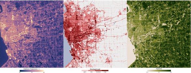 Isola di calore urbano, Buffalo, USA. Vegetazione, suolo urbanizzato, clima, temperatura