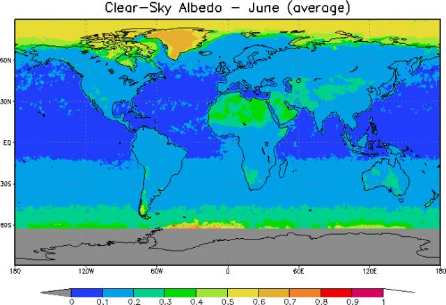 albedo clear sky giugno pianeta terra riflessione luce sole radiazione