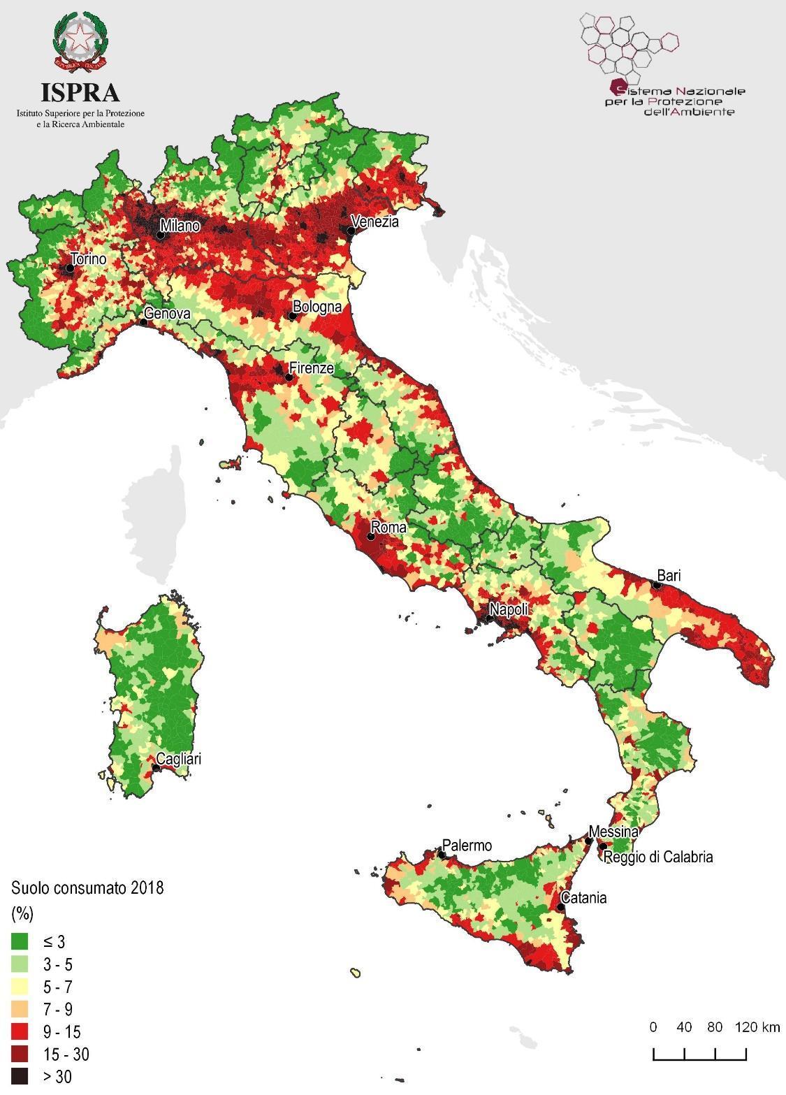 Suolo consumato per comune in Italia a tutto il 2018, percentuale