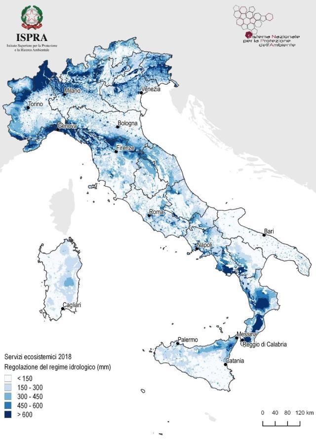 Mappa del deflusso superficiale per il territorio dell'Italia, valori in mm