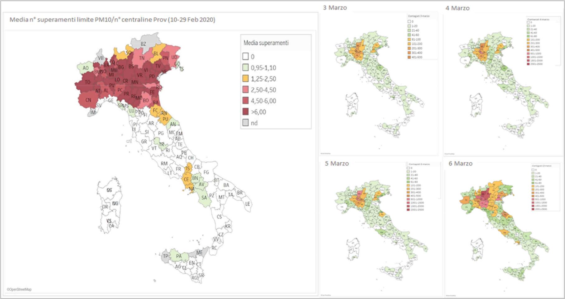 relazione tra inquinamento atmosferico e diffusione dell'epidemia di coronavirus